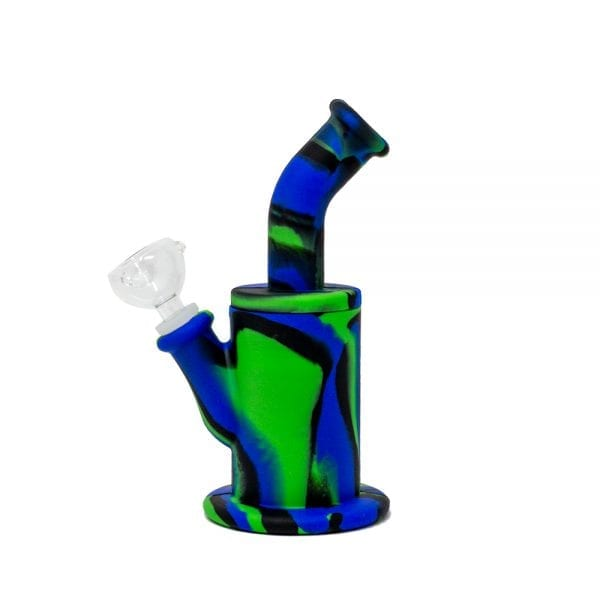 Blue/Green/Black Camo Long Neck Silicone Bong
