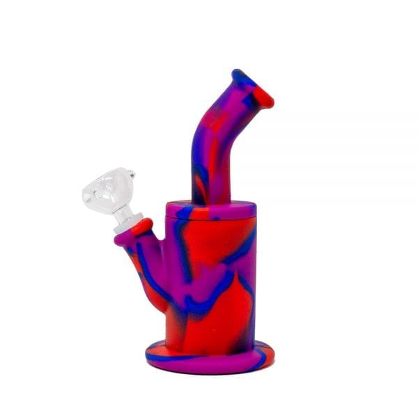 Blue/Red/Purple Camo Long Neck Silicone Bong